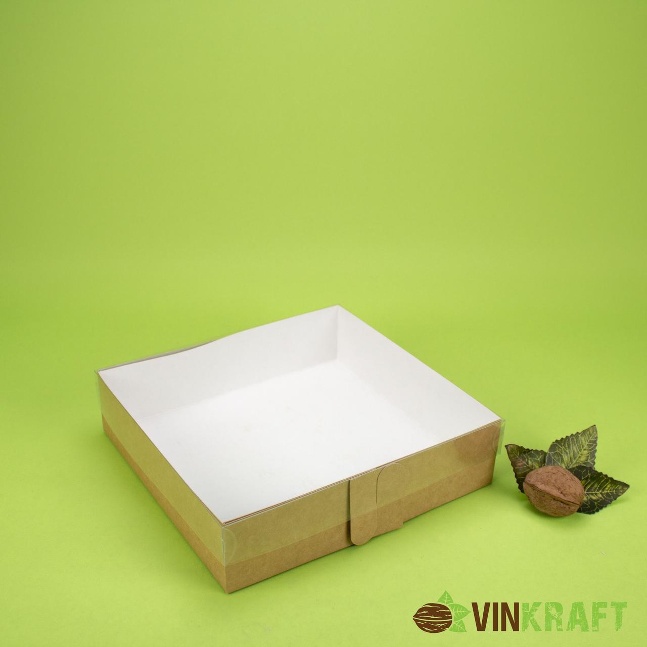 Коробка 200*190*50 для десерта, з прозорою кришкою, крафт