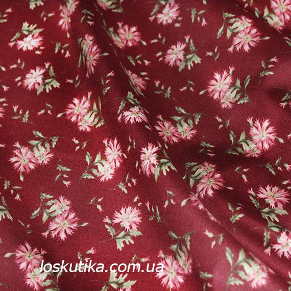 44020 Дикая гвоздика (фон красно-коричневый). Одежная ткань для шитья и рукоделия. Натуральные ткани.