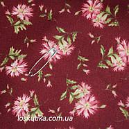 44020 Дикая гвоздика (фон красно-коричневый). Одежная ткань для шитья и рукоделия. Натуральные ткани., фото 2