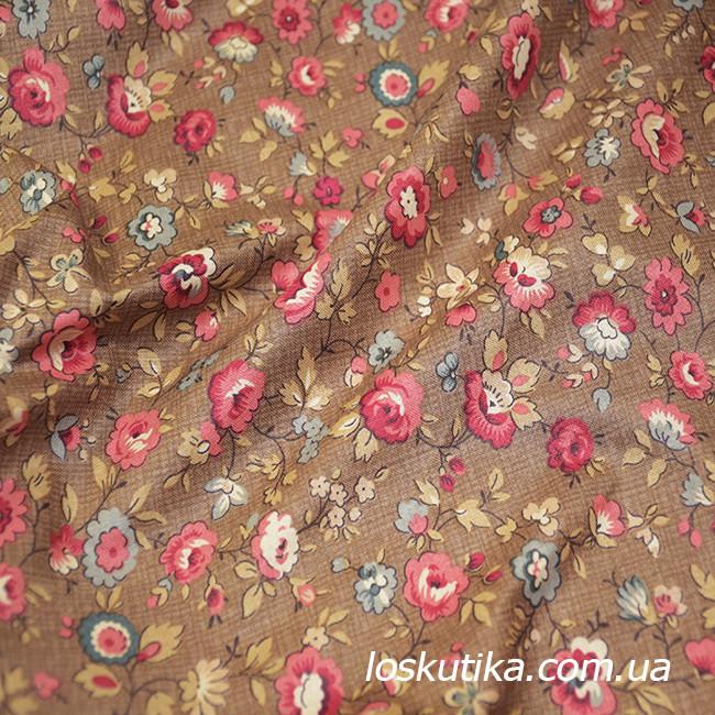 47026 Простая (коричневый фон). Квилтинговая ткань для шитья и рукоделия. Американский хлопок.
