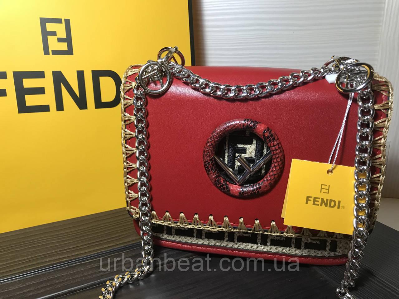 4391d63a97b2 Женская мини сумка Фенди Kan1 на цепочке Red (Реплика): продажа ...