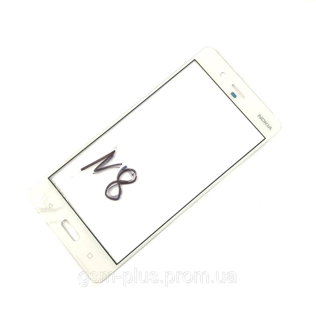 Стекло дисплея Nokia 8 White (для переклейки)