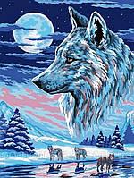 Картина по номерам Волки под луной 30 х 40 см (VK213)