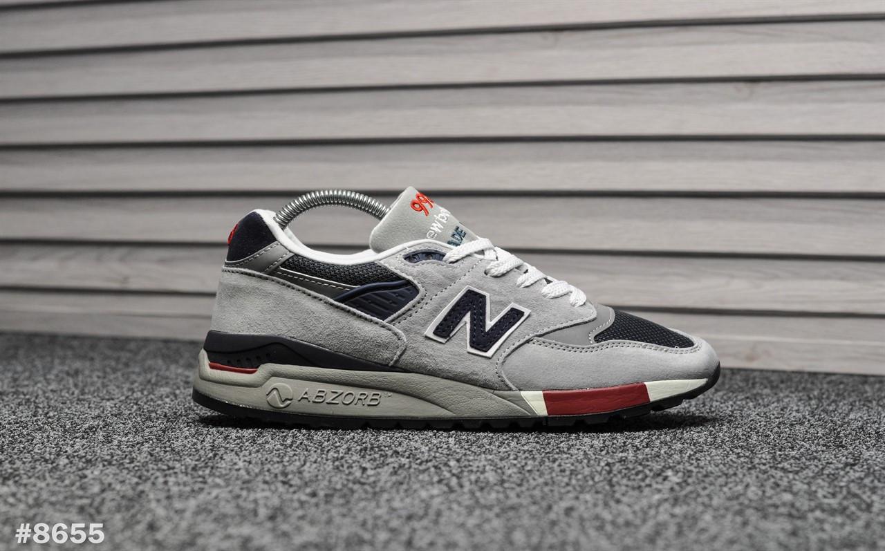 Чоловічі кросівки 998 Gray Navy Red, Репліка