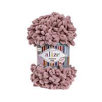 Пряжа Alize Puffy Fine 295 серо-розовый (Пуффи Файн Ализе) для вязания без спиц руками