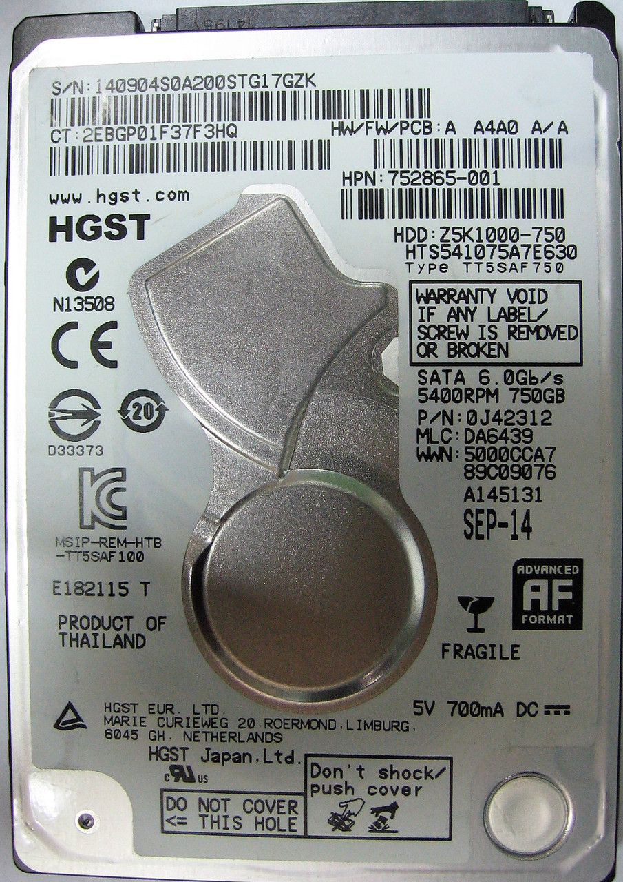 HDD 750GB 5400rpm 32MB SATA III 2.5 Slim Hitachi HTS541075A7E630 STG17GZK