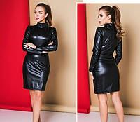 Кожаное черное короткое платье 42-44,44-46