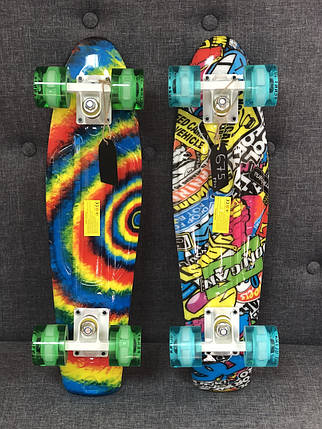 Скейт Пенни борд Penny Board Ultra Led 22 - Пенні борд Радуга 54 см, фото 2