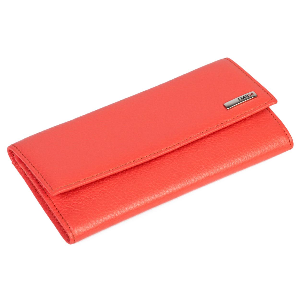 Женский кошелек Eminsa 2060-12-25 кожаный коралловый
