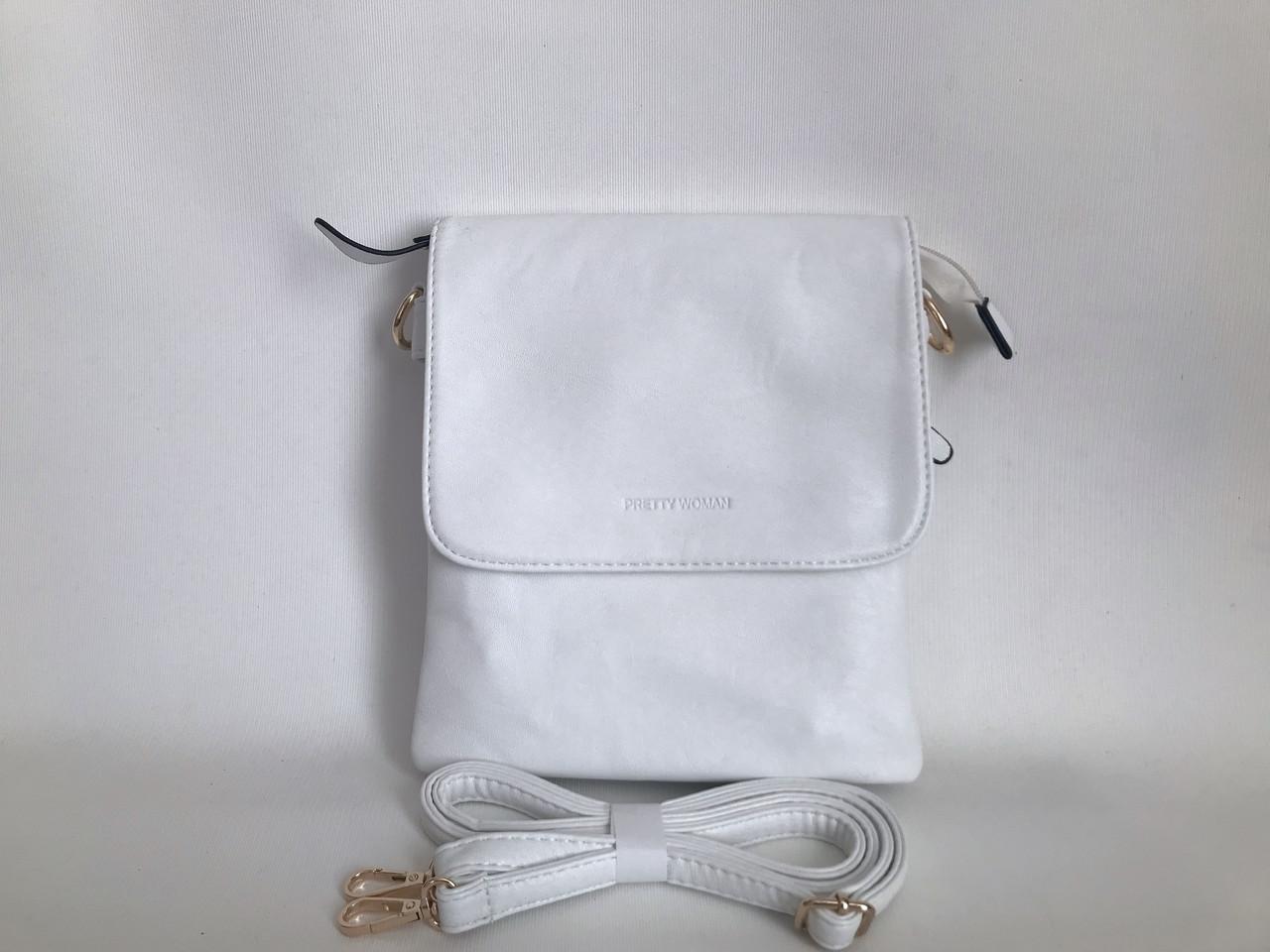 Женская стильная сумочка планшет белая через плечо Pretty woman