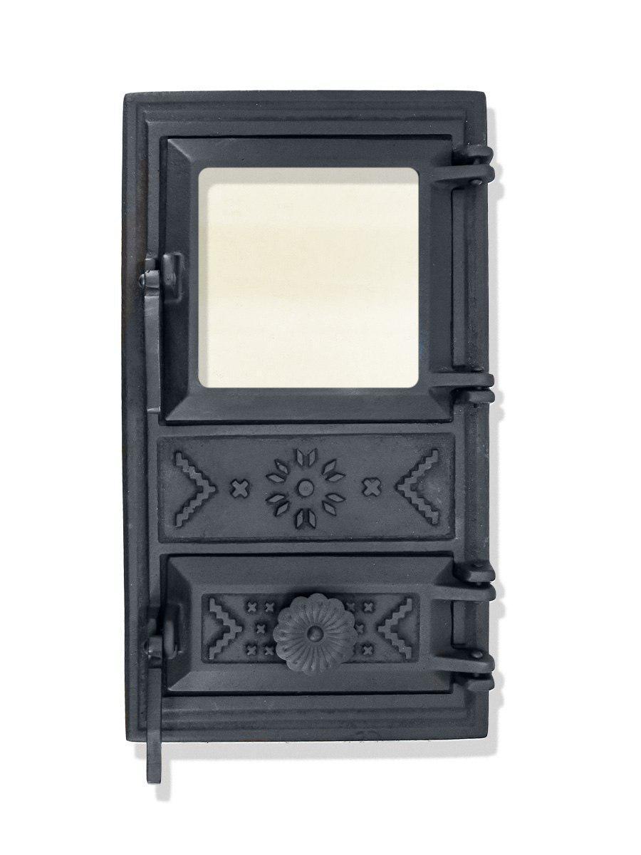 Дверца для печи со стеклом 102911, чугунная печная дверка