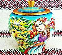 Розписна сахарниця  (Авторская художественная роспись, ручная работа, деревянная сахарница, высота 12см)
