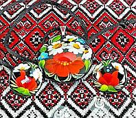 Жіночій розписний набір прикрас (кулон та сережки) (Авторская работа, петриковская роспись)