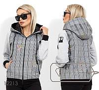 Короткая куртка с подкладом синтепон 100 капюшоном и рукавами из трикотажа на флисе 12213