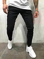 мужские прямые джинсы зауженные черные , фото 1