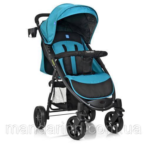 Детская прогулочная коляска книжка M 3409-3-15 черно-бирюзовая