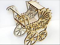 Игрушка Ажурная коляска из дерева резная