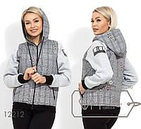 Короткая куртка с подкладом синтепон 100 капюшоном и рукавами из трикотажа на флисе 12212