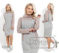 Платье-мешок двуцветное с воротником-хомут 12188