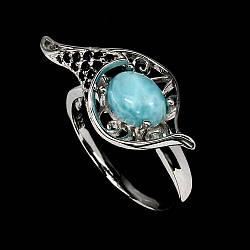 Ларимар, серебро 925, кольцо, 1503КЦЛ