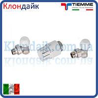 Кран радиаторный с термоголовкой угловой комплект TIEMME 1/2'