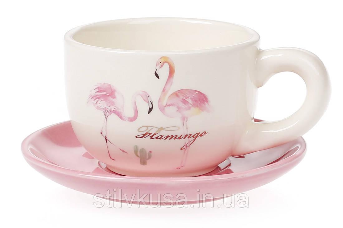 """Чашка з блюдцем """"Рожевий Фламінго"""""""