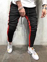мужские джинсы зауженные с потертостями с красной полосой , фото 1