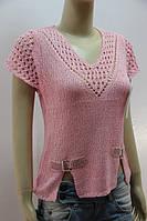 Ажурная вязаная женская футболка