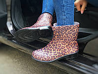 Женские резиновые сапоги, полу сапоги леопард