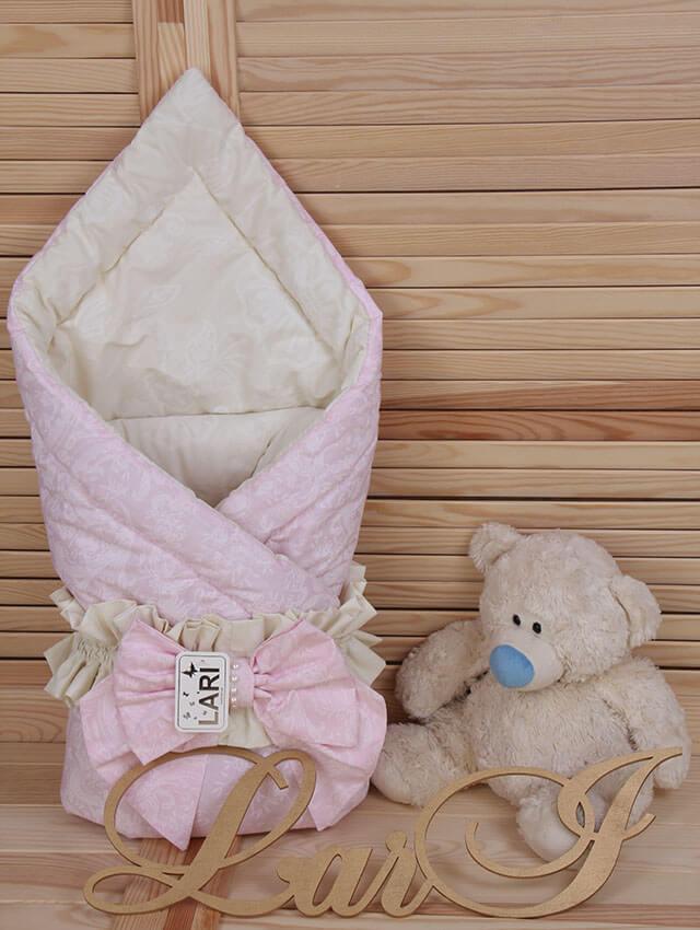 """Демисезонный конверт-одеяло """"Забава"""", розовый с кремовым"""