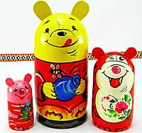 """Деревянна игрушка-матрешка """"Винни-пух"""", авторская роспись, ручная работа, макс.высота - 12,5см диам. 6,5см"""