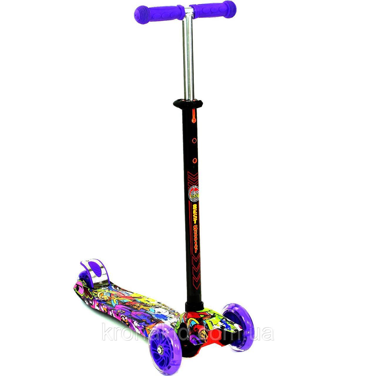 """Самокат MAXI """"Best Scooter"""" А 24646 /779-1390, свет. колеса PU, трубка руля алюминиевая"""