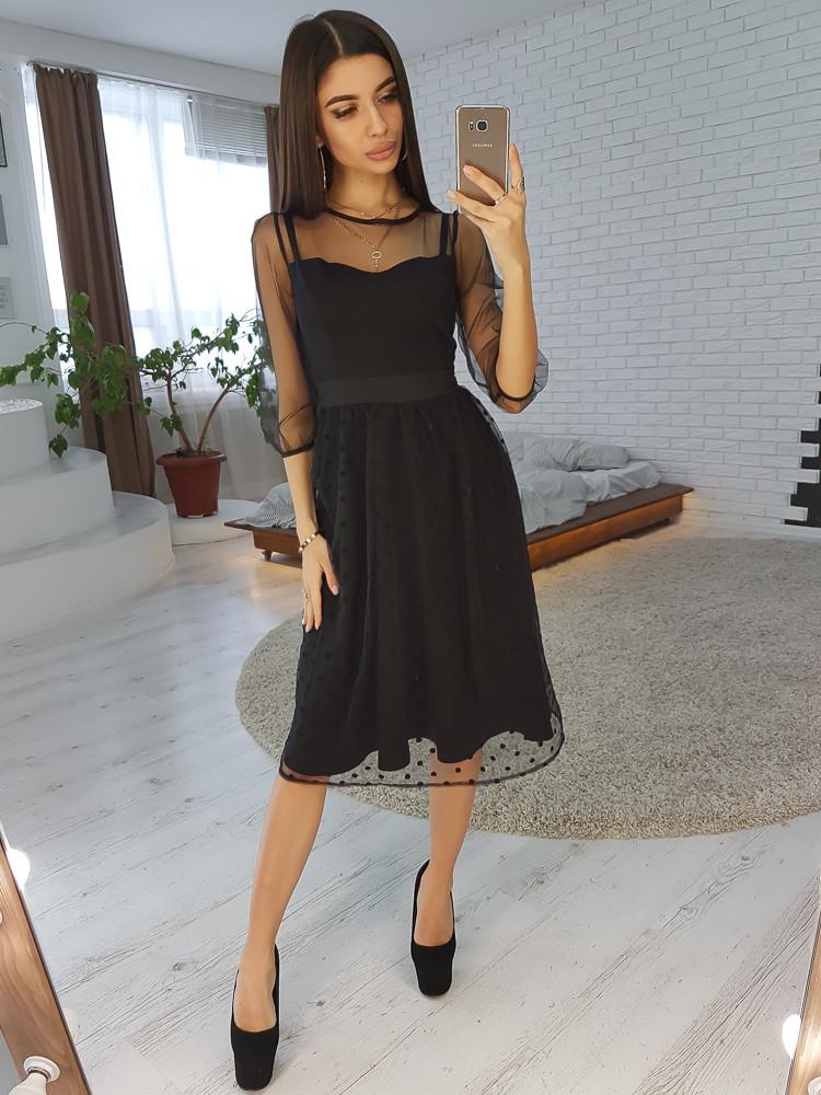 0858eb6fac1 Черное платье миди с юбкой из сетки -добби - CHU SHOP в Харькове