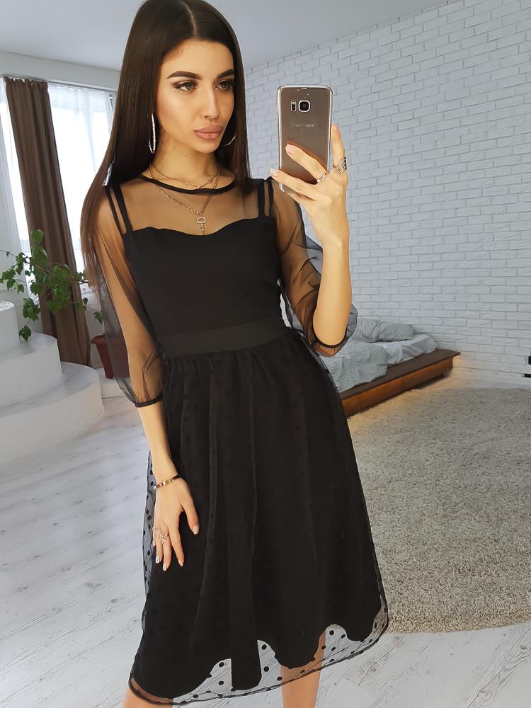 36f20f5306e Черное платье миди с юбкой из сетки -добби