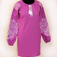 Элегантное платье вышиванка Ольга льняное розовое