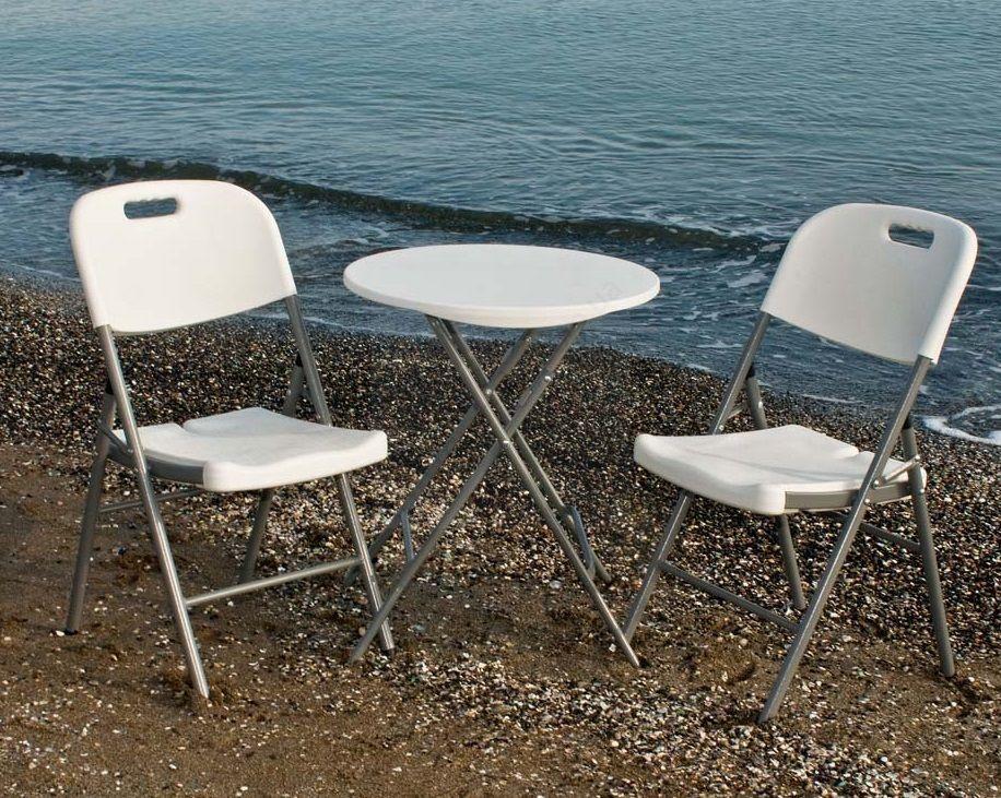 Комплект складной пластиковой мебели  Стол 6001 + 2 Стула 5321 белый