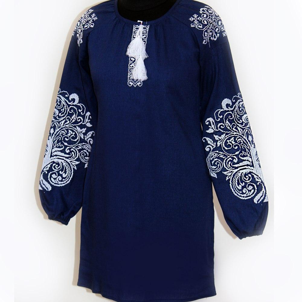 Невероятно красивое платье вышиванка Ольга льняное темно-синее