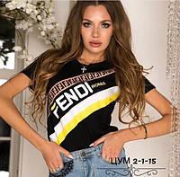 Женская футболка копия Фенди Fendi трикотаж черная