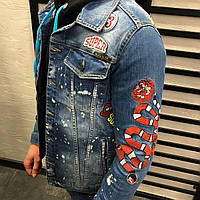 Мужской джинсовый пиджак синий 3347-1198