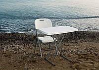 Комплект складной пластиковой мебели  Стол 3720 + 1 Стул 5321 белый, фото 1