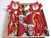 Набор детских аксессуаров для волос куколки LOL красный (заколки+резинки)
