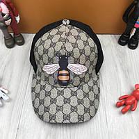 5f7d00a2827f Современная кепка Тракер с сеточкой Gucci Пчела бежевая унисекс полиэстер мужская  женская Гуччи люкс реплика
