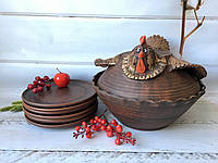 Набор гончарная курочка  + 6 тарелок 20 см, фото 1
