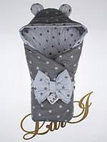 Демисезонный конверт-одеяло Микки, серый/белый, звезды