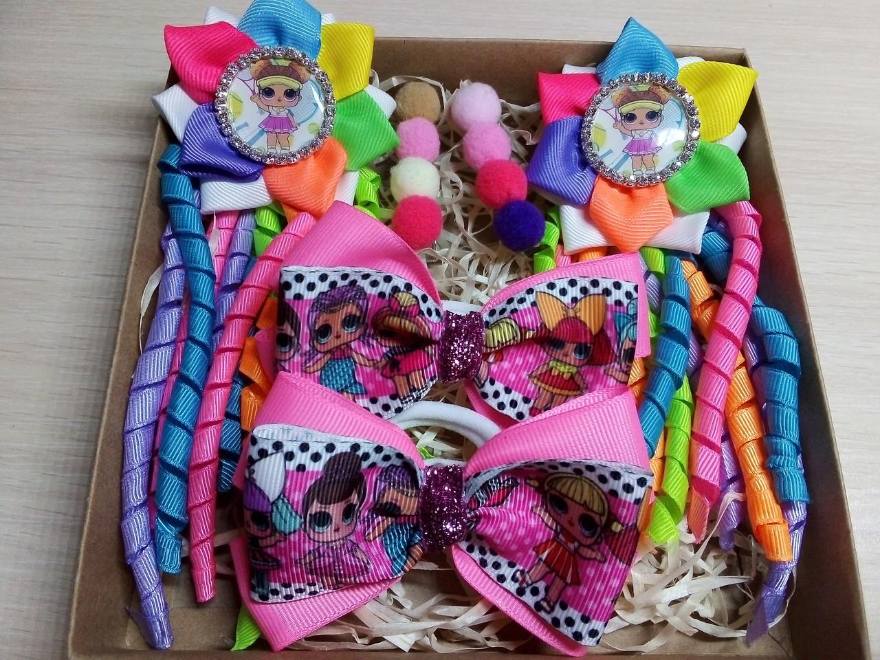 ae0316e9206c Набор детских аксессуаров для волос куколки LOL радуга (заколки+резинки)