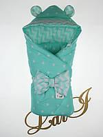 Демисезонный конверт-одеяло Микки, ментоловый, звезды