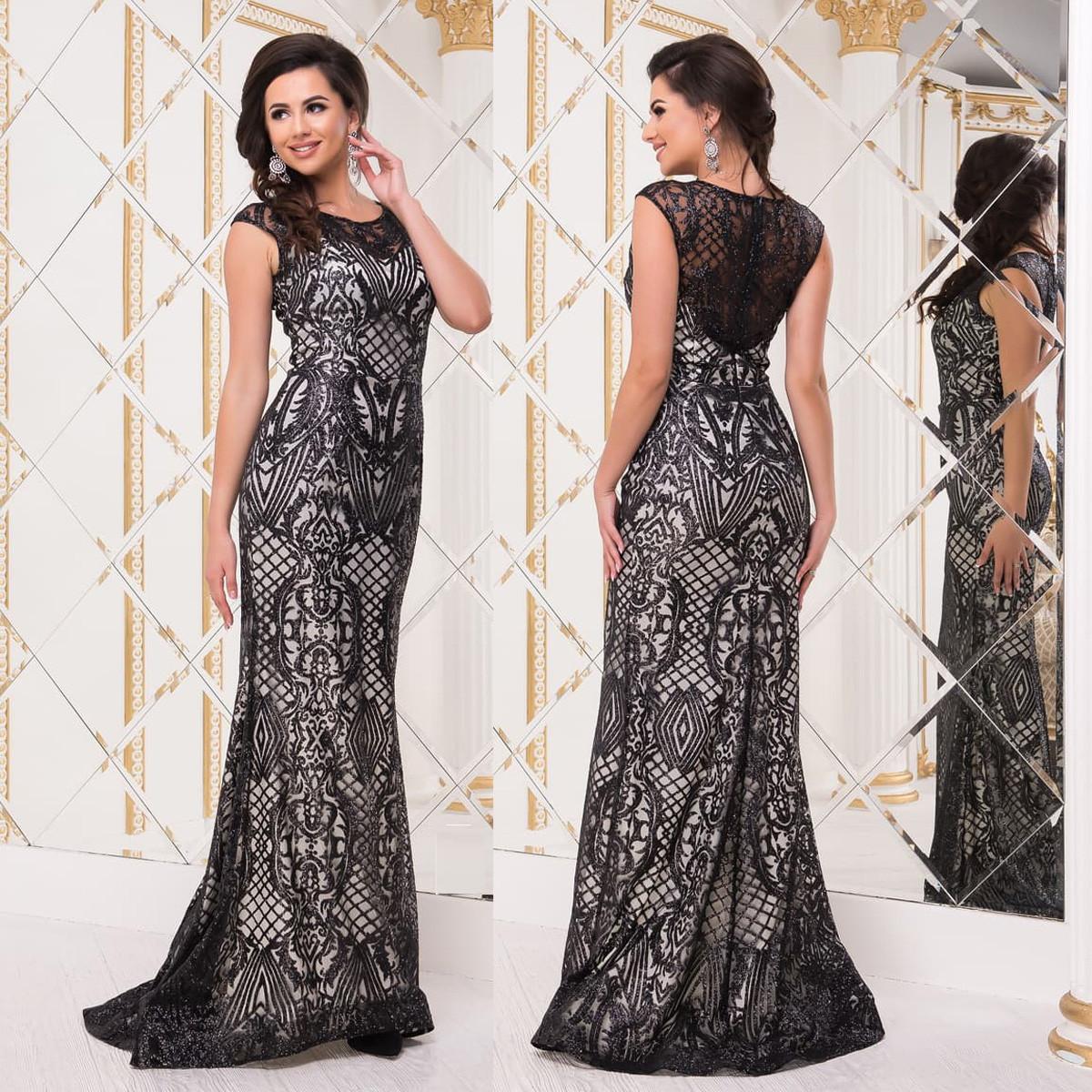 """Черное гипюровое платье-русалка со шлейфом выпускное, вечернее """"Арабика"""""""