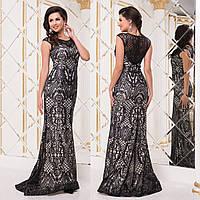 """Черное гипюровое платье-русалка со шлейфом выпускное, вечернее """"Арабика"""", фото 1"""