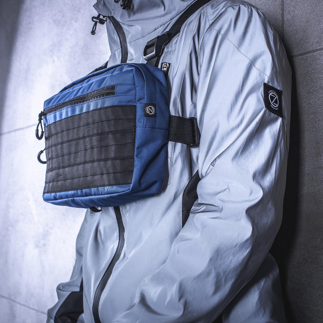 Нагруднаяя мужская сумка BEZET / Бананка / Поясная сумка  / Барсетка (синяя)