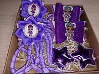 Набор детских аксессуаров для волос куколки LOL фиолетовый (заколки+резинки)